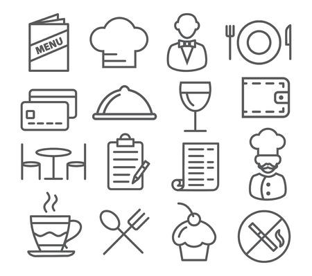 Gray Restaurant Line Icons on white background
