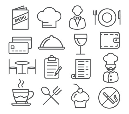 Gray Restaurant Line Icons on white background