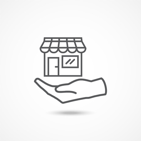 outdoor goods: Shop on hand icon with shadow on white