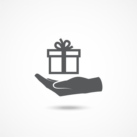 Hand and gift icon with shadow on white