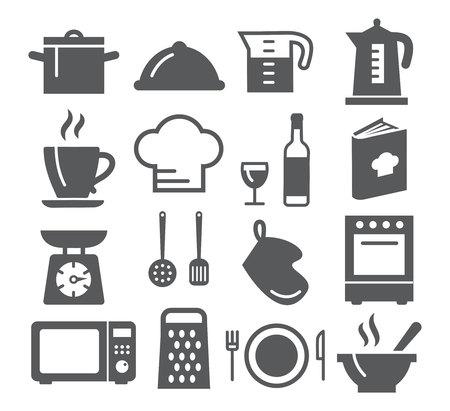 taza: Cocina y Cocina iconos en el fondo blanco