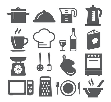 espresso cup: Kitchen and Cooking Icons on white background