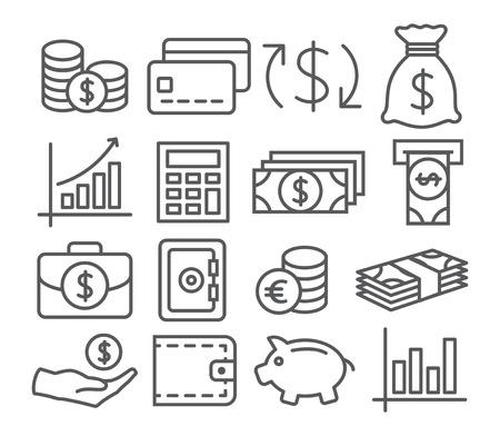 cash: Gray Line Dinero iconos en el fondo blanco