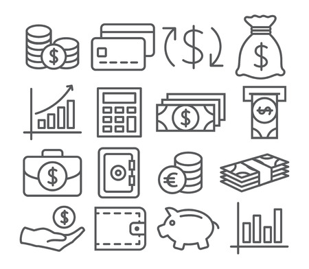 dollar bag: Gray Money Line Icons on white background