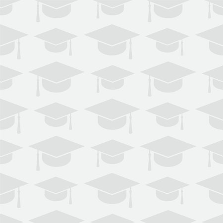 Education seamless pattern with graduation cap icons  イラスト・ベクター素材
