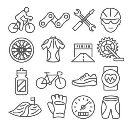 biking glove: Gray Biking Line Icons on white background
