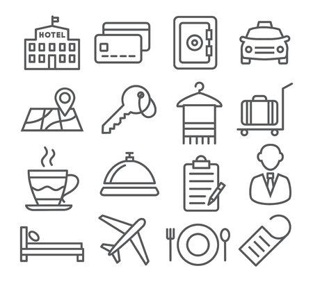 hotel: Gray Hotel Line Icons on White Background Illustration