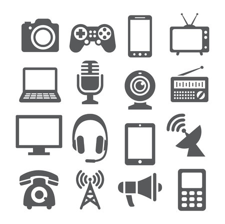 communications tower: Gray Communication device icons on white background