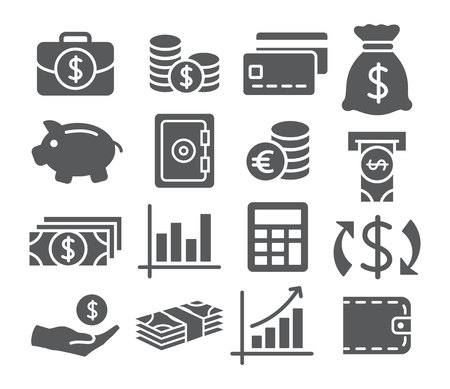 saving: Gray Money Icons on white background