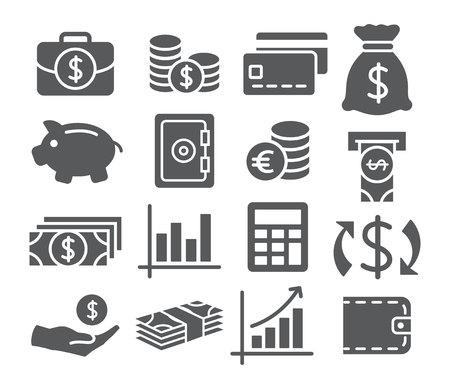 cuenta bancaria: Grises Iconos del dinero en el fondo blanco