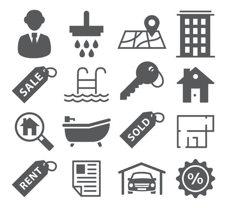 garage on house: Gray Real Estate Icons on white background