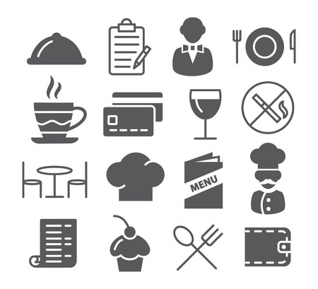 Icone grigio del ristorante su sfondo bianco