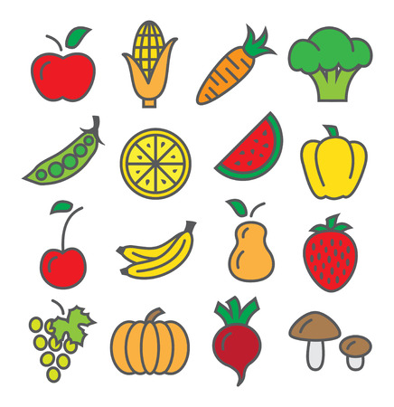 Fruits and Vegetables Icons on white background