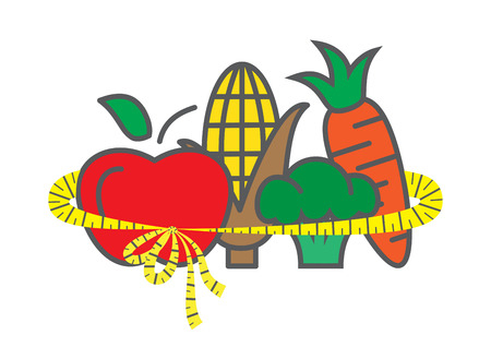 manzana verde: Concepto de la dieta de alimentos saludables en el fondo blanco Vectores