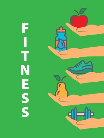salud y deporte: Concepto de la aptitud Ilustración sobre fondo verde