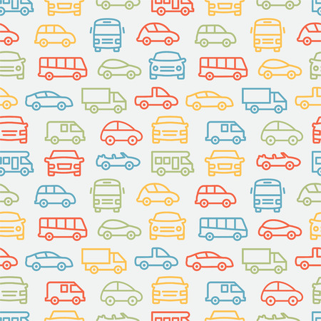 mini van: Colorful seamless pattern with car line icons