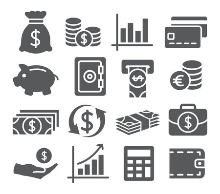 Grigio Money Icons impostato su sfondo bianco Archivio Fotografico - 49824985