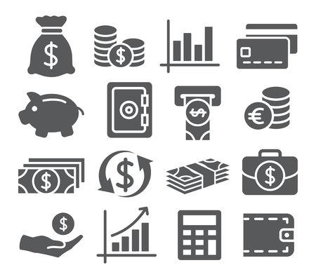 pieniądze: Szare Pieniądze zestaw ikon na białym tle