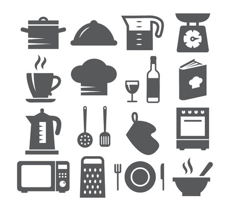 Kitchen and Cooking Icons on white background