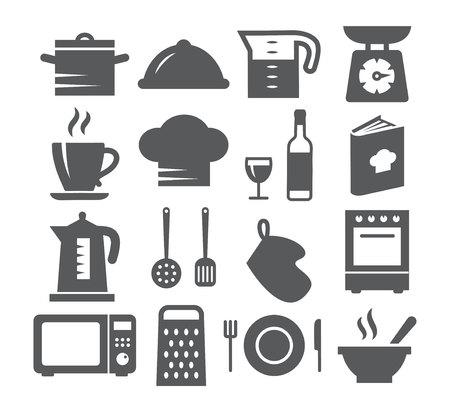 Kitchen and Cooking Icons on white background Vektoros illusztráció