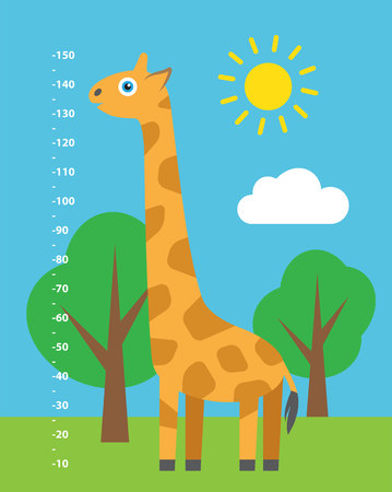 long and short scales: Kid height. Cute cartoon illustration.