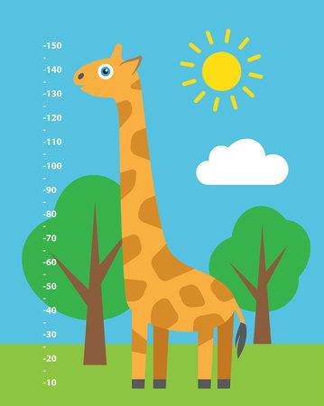 size: Kid height. Cute cartoon illustration.