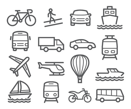 transport icons: Transport line icons Illustration