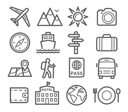 travel icon: Travel and tourism icon set in trendy linear style Illustration