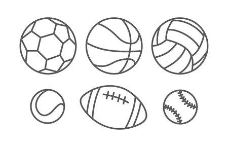 balones deportivos: balones de deporte en el estilo lineal en blanco