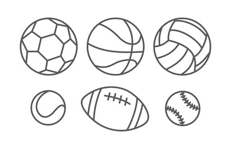 set design: Sports balls in linear style on white