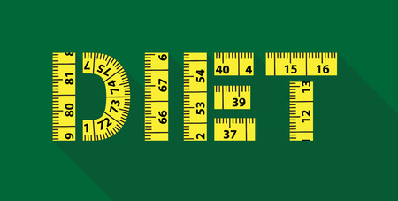lose weight: Illustration of Diet word with yellow measuring tape