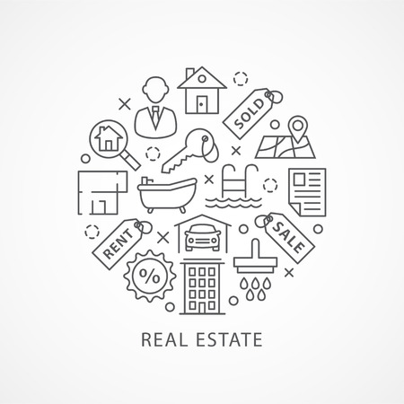 Real Estate illustration with icons and signs in linear style