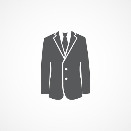 gray suit: Gray Suit icon on white background Illustration