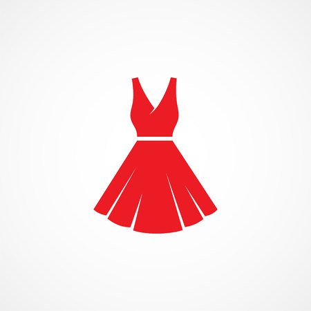 red dress: Red Dress Icon on white background Illustration