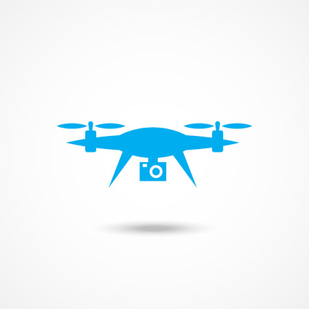 Blue Drone icon with shadow on white