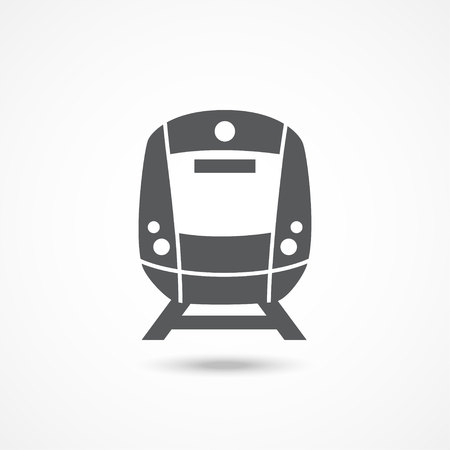 high speed railway: Train Gray icon with shadow on white Illustration