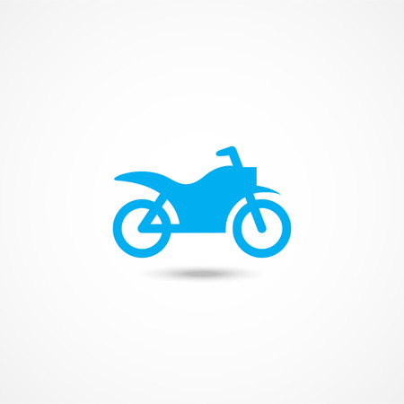 motorbike: Motorcycle Blue icon with shadow on white