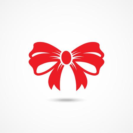 nudos: Icono arco de la cinta roja sobre fondo blanco