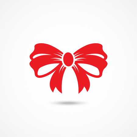 knot: Red Ribbon Bow Icon on white background