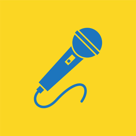 amplification: Blue Microphone Icon on yellow background