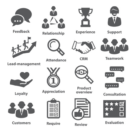 communication capability: Business management icons on white. Pack 03. Illustration
