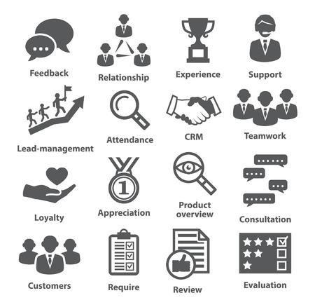 evaluacion: Iconos de la administración de negocios en blanco. Paquete de 03. Vectores