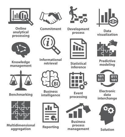 communication capability: Business management icons on white. Pack 04. Illustration