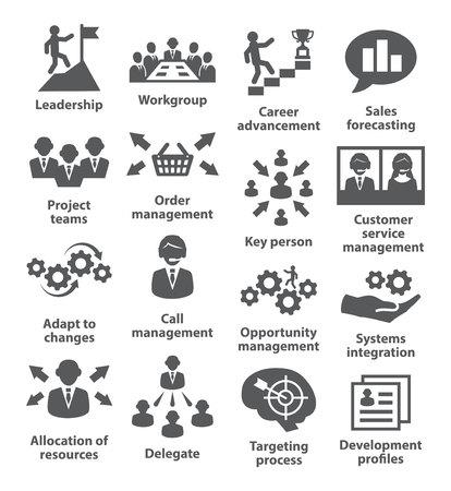 team leadership: Business management icons on white. Pack 02. Illustration