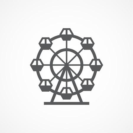 Icona della ruota di Ferris grigia su priorità bassa bianca Vettoriali