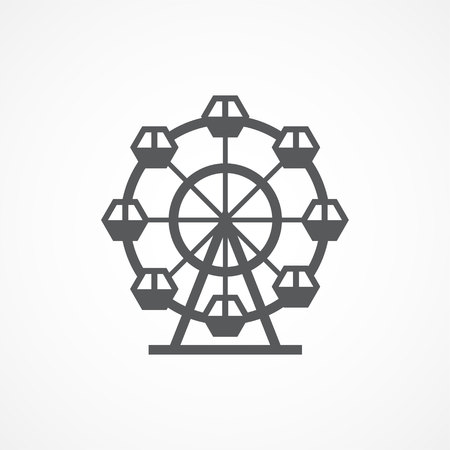 Gray Ferris Wheel Icon on white background