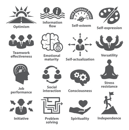 inteligencia: Iconos de la administración de negocios en blanco. Paquete de 06.