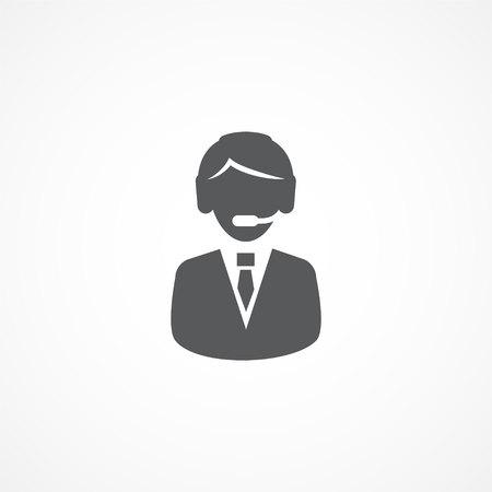 handsfree: Customer support service icon on white background