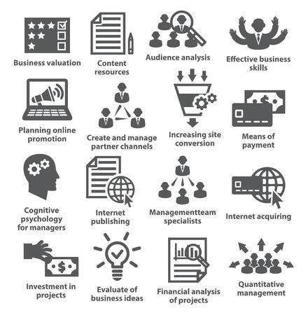 Iconos de la administración de negocios en blanco. Paquete de 09.