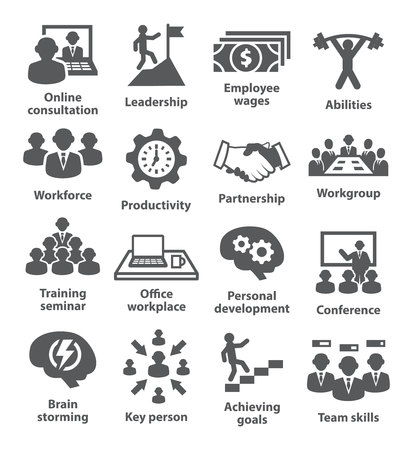 Business management icons on white.